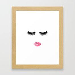 Lips, Eyelashes, Face, Pink lips, Modern Framed Art Print