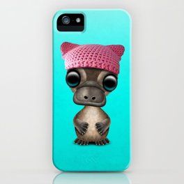 Cute Baby Platypus Wearing Pussy Hat iPhone Case