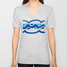 Fish and Waves Colored - Black Lines Unisex V-Neck