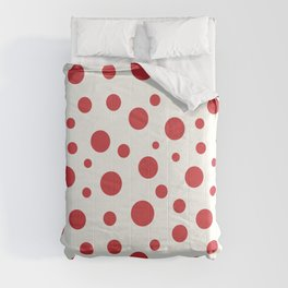 Red circles of different sizes over beige background Comforters
