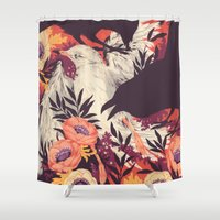 dark Shower Curtains featuring Harbors & G ambits by Teagan White