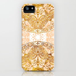 Bees Golden Mandala and Peach iPhone Case
