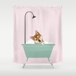 Shiba Inu Enjoying Bubble Bath Shower Curtain