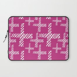 Neon pink white geometrical hand painted argyle crosses Laptop Sleeve