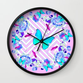 Turquoise Blue Butterflies Morning Glories Abstract Pattern Wall Clock