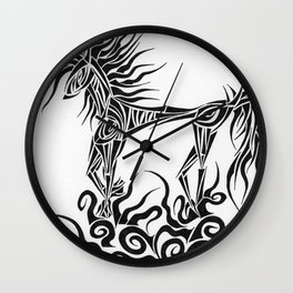 Tribal Horse Wall Clock