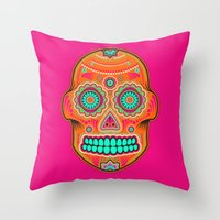 sugar skull Throw Pillows featuring Sugar Skull by Good Sense