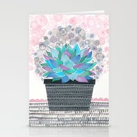 succulent Stationery Cards featuring succulent by Asja Boros