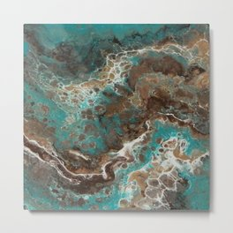Water Flow, Abstract Acrylic Flow Art Metal Print
