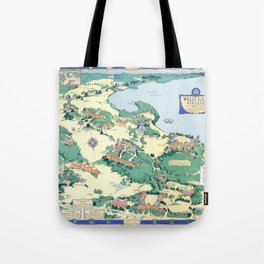 WELLESLEY College map MASSACHUSETTS dorm decor graduate Tote Bag