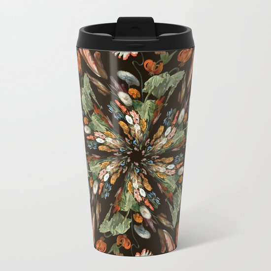 Flemish Floral Mandala 3 Metal Travel Mug