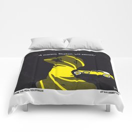No277-007 My Goldfinger minimal movie poster Comforters