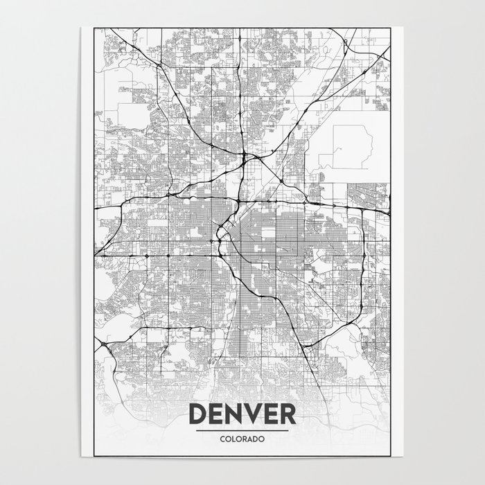 Minimal City Maps - Map Of Denver, Colorado, United States Poster by on denver neighborhood map, denver city limits map, denver city map online, denver surrounding cities, denver metro area city maps, denver city council map, denver colorado usa map, denver on the map, denver co, university of colorado denver anschutz campus map, denver city park map, denver city map with locations, denver united states map, denver metro map with city boundaries, denver airport map, denver las vegas map, denver castle rock map, denver i-70 colorado exits map, cherry creek denver colorado map, old denver colorado map,