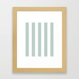 Jet stream blue - solid color - white vertical lines pattern Framed Art Print