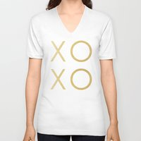 gold glitter V-neck T-shirts featuring Gold Glitter XOXO by Fancy Designs