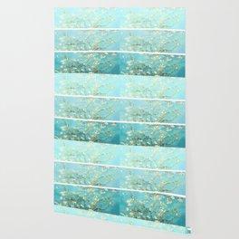 Vincent Van Gogh Almond Blossoms  Panel arT Aqua Seafoam Wallpaper