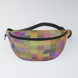 geometric square pixel pattern abstract in yellow green purple Fanny Pack
