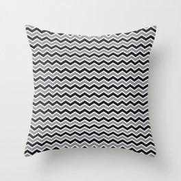 Modern Chevron Zig-Zag Pattern (black/grey) Throw Pillow