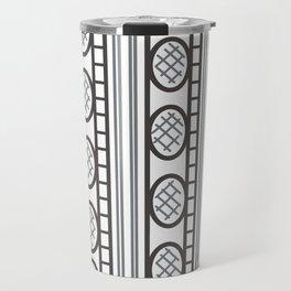 Black and White Geometric Pattern Aztec Line Art Travel Mug