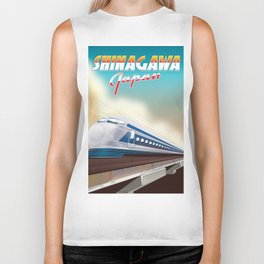 Shinagawa Japan travel poster Biker Tank