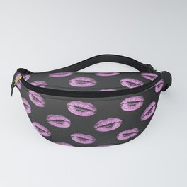 Glam Pink and Black Lips Kiss Imprint Fanny Pack