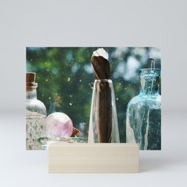 Lined Up Glass Bottles and a Feather Mini Art Print