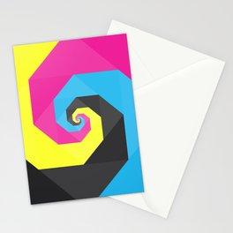 CMYK triangle spiral Stationery Cards