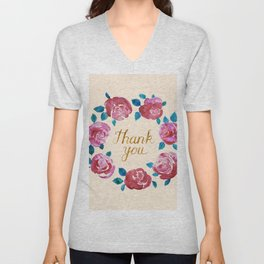Thank you! Watercolor Rose Wreath. Unisex V-Neck