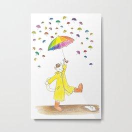 a cat and the umbrella Metal Print