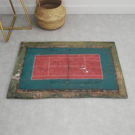 Tennis court, view of drone Rug