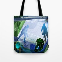 hockey Tote Bags featuring Hockey by Tami Cudahy