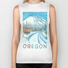 Mt Bachelor Oregon Travel Poster Biker Tank