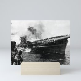 USS Franklin After Attack - 1945 Mini Art Print