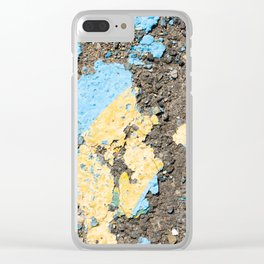 Urban Texture Photography -  Blue and Yellow Painted Asphalt Clear iPhone Case