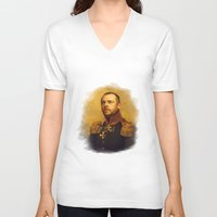 replaceface V-neck T-shirts featuring Simon Pegg - replaceface by replaceface