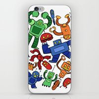robots iPhone & iPod Skins featuring Robots by Sara Goetter