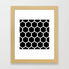 Honeycomb pattern - Black and White Framed Art Print