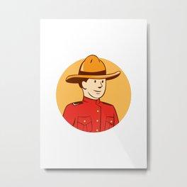 Mounted Police Officer Bust Circle Cartoon Metal Print
