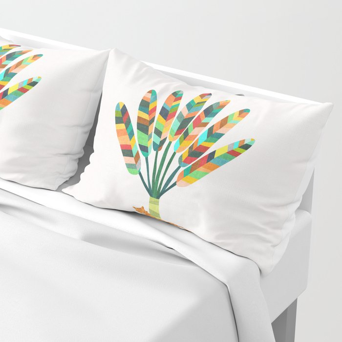 Whimsical travelers palm with tiger Pillow Sham