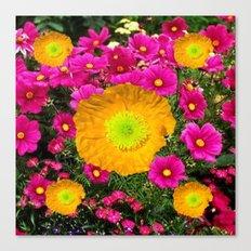FUCHSIA GOLDEN YELLOW POPPY FLOWERS GARDEN Canvas Print
