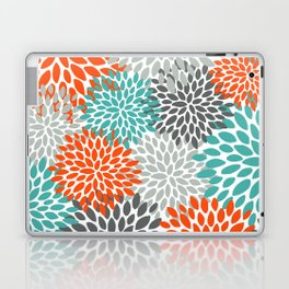 Floral Pattern, Abstract, Orange, Teal and Gray Laptop & iPad Skin