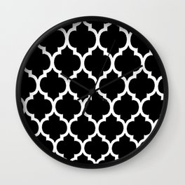 Moroccan Black and White Lattice Moroccan Pattern Wall Clock