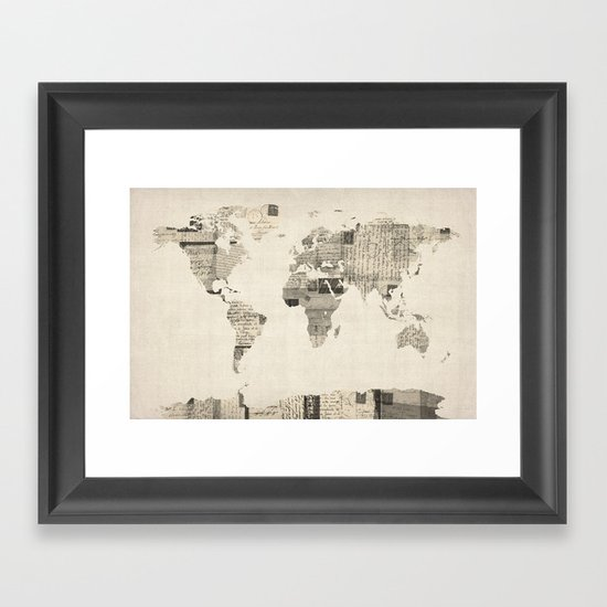 Map of the World Map from Old Postcards Framed Art Print