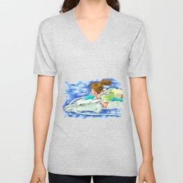 Ghibli Spirited Away Sky Illustration Unisex V-Neck