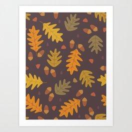 Oak Leaves dark Art Print