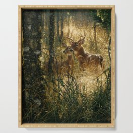 Whitetail Deer - A Golden Moment Serving Tray