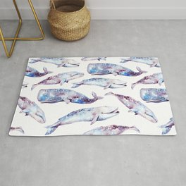 Watercolor Whales Rug