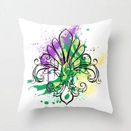 Mardi Gras Art Splash Throw Pillow