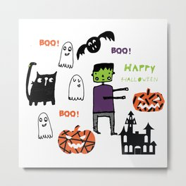Cute Frankenstein and friends white #halloween Metal Print