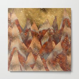 Abstract Copper Christmas Winter Mountain Dreamscape Metal Print